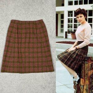 VTG 70s Pendleton Twin Peaks Wool Plaid Midi Skirt